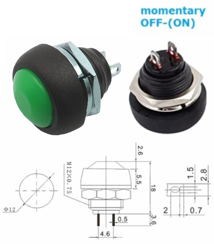 PBS-33B Green momentary push button switch waterpr