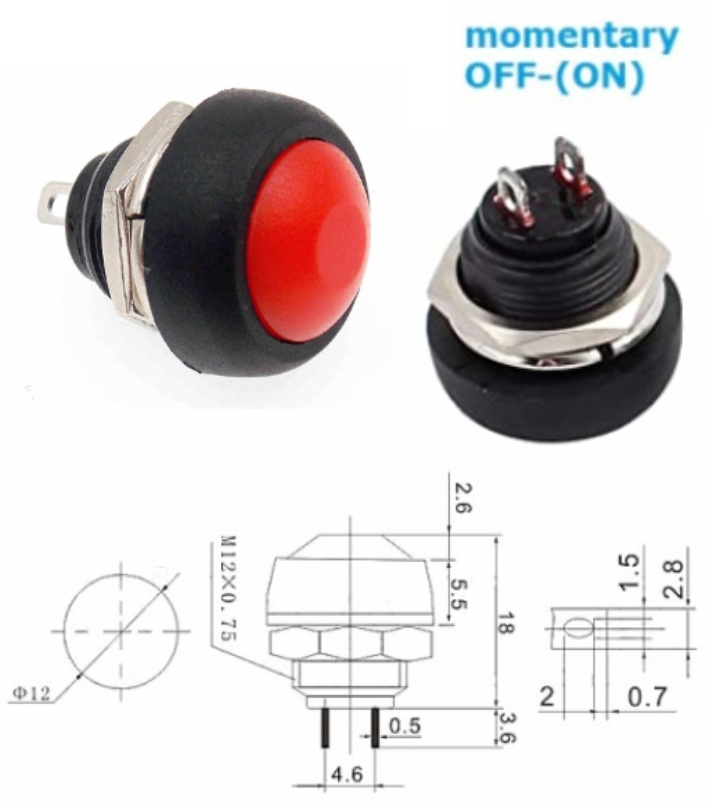 PBS-33B RED momentary push button switch waterproof