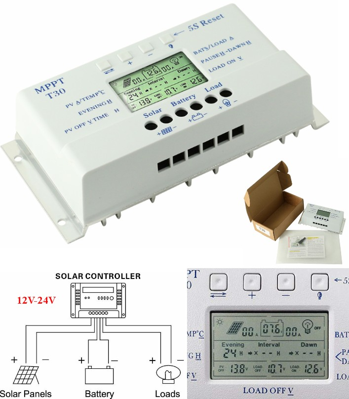 T30AL 30A MPPT Solar Charge Controller 12V24V Auto