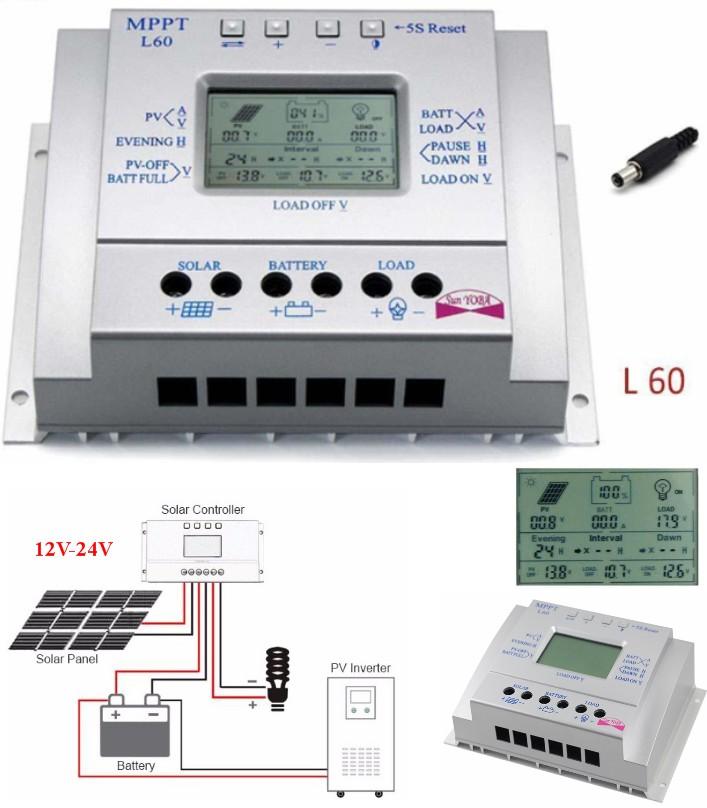 L60A 60A MPPT Solar Panel Controller LCD USB Regul