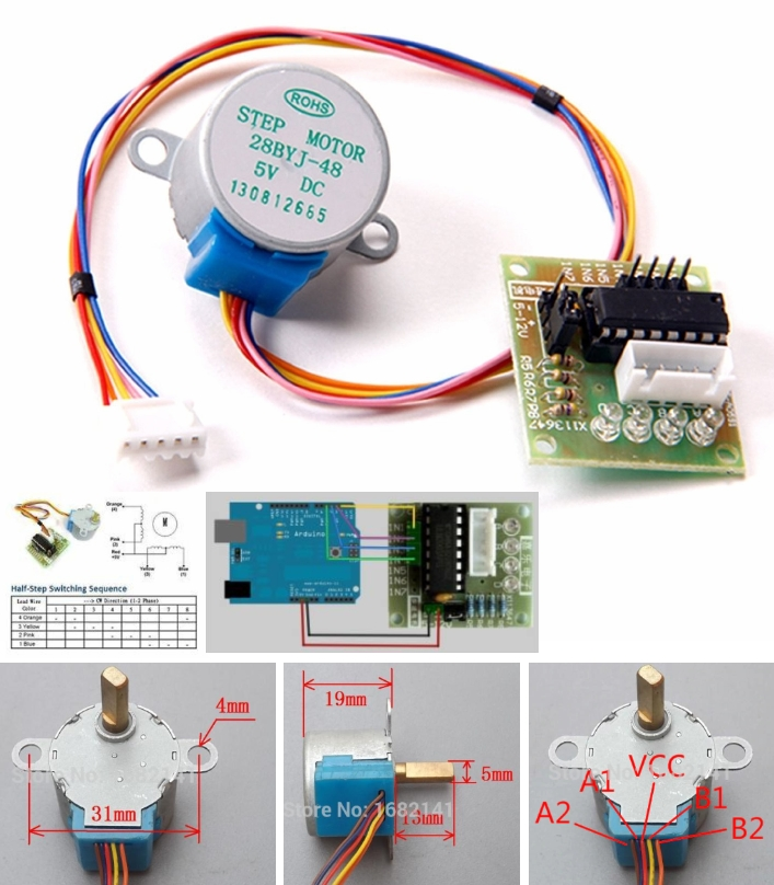5 wires Stepper Motor with ULN2003 Driver Board