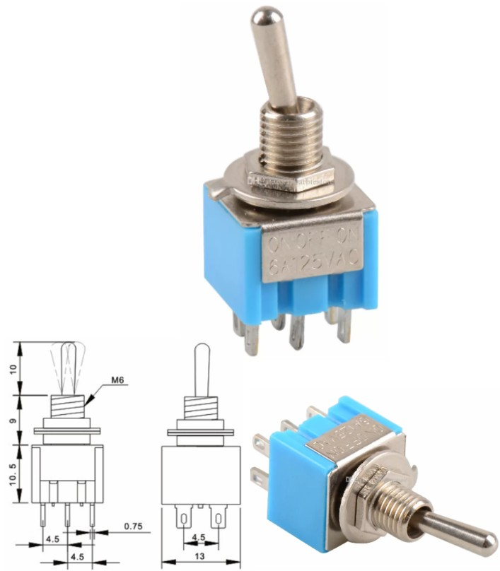 Switch MTS-203 6 Pin DPDT ON-OFF-ON Toggle 6A