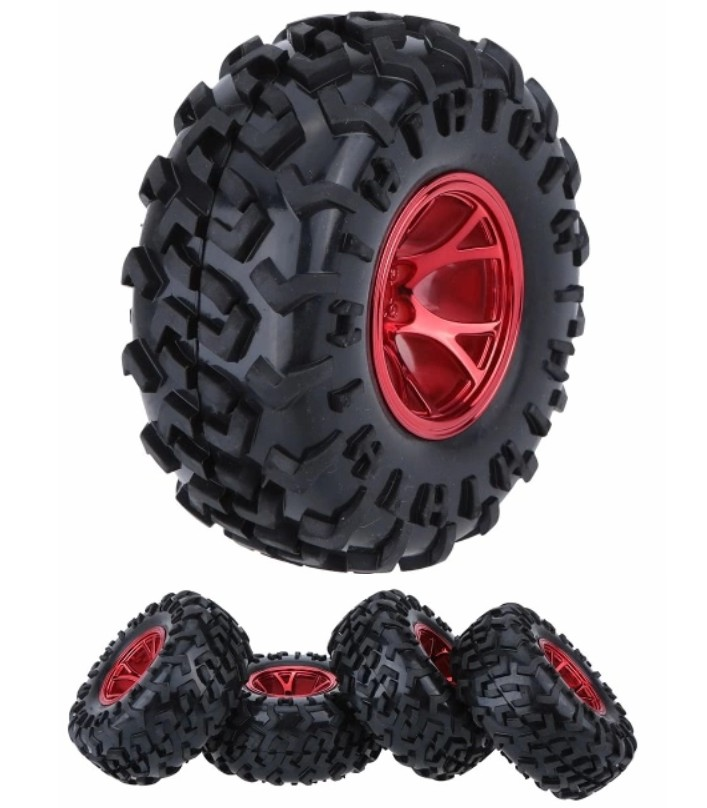 Red 1/10 Monster Truck Tire Tyre wheel Traxxas HSP