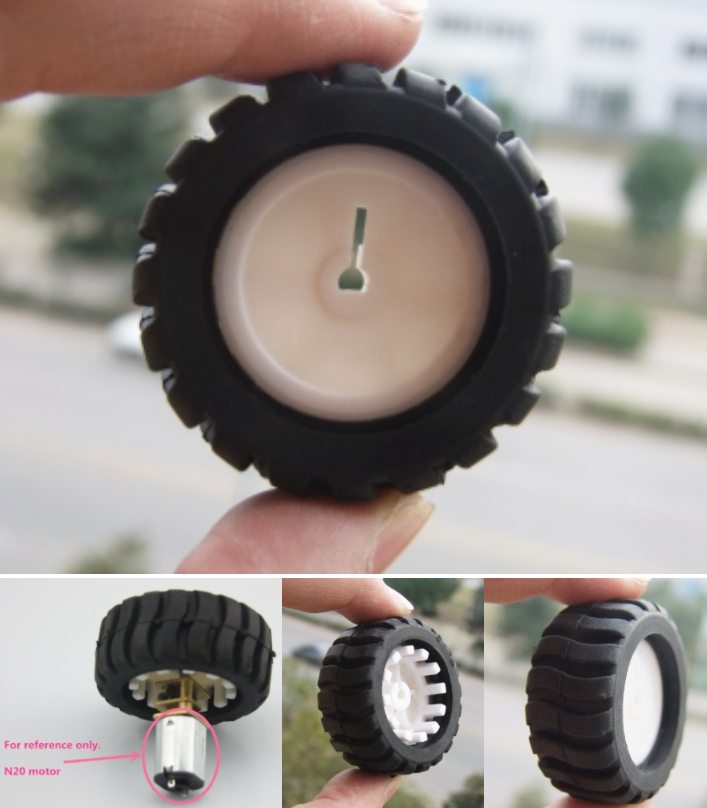 mini Car wheel Tyre 43mm for N20 DC Gear Motor Whe