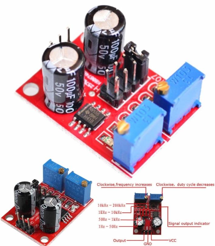 NE555 Pulse Frequency generator Duty Cycle Adjusta