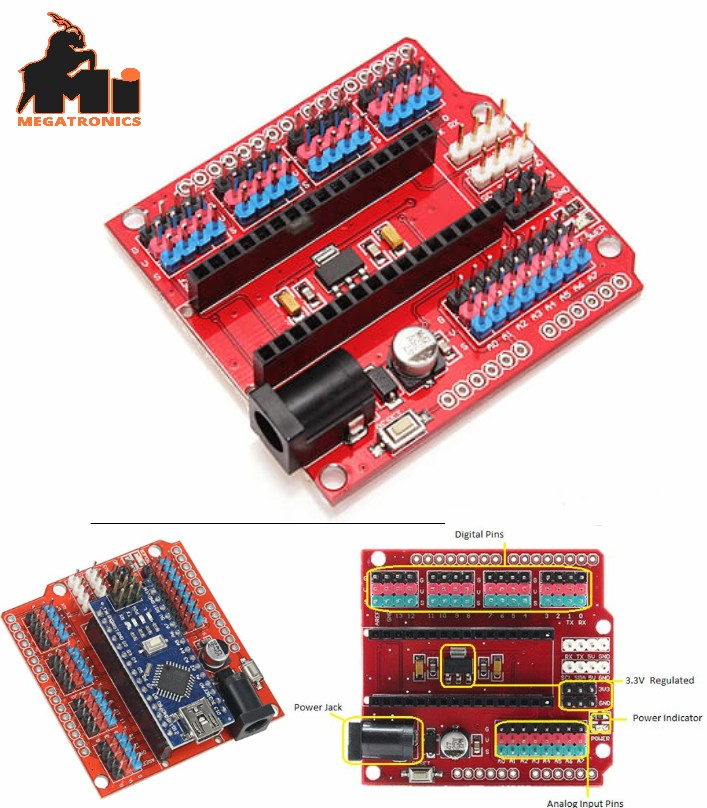 NANO UNO I/O Expansion Sensor Shield V3.0 RED Modu