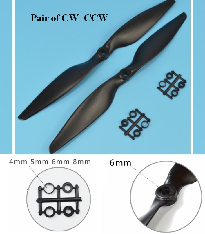 1045 cw & ccw Multiaxial Carbon nylon propeller