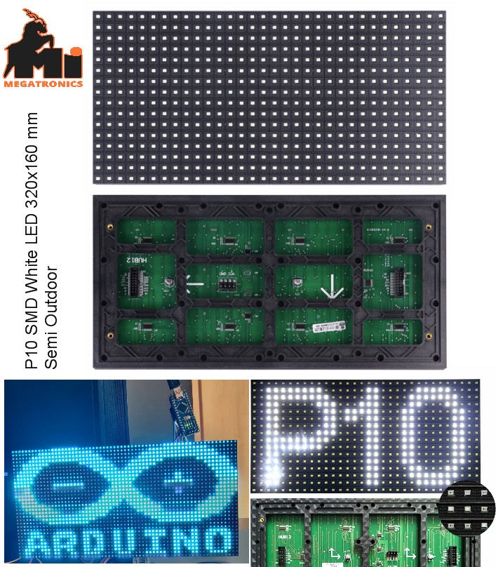 P10 white SMD LED display panel plate 320x160mm si