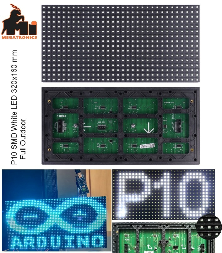 P10 white SMD LED display panel plate outdoor 320x