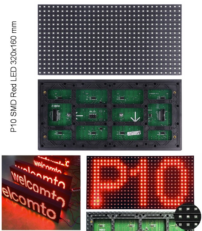 P10 Red SMD LED display panel plate 320x160mm single red color