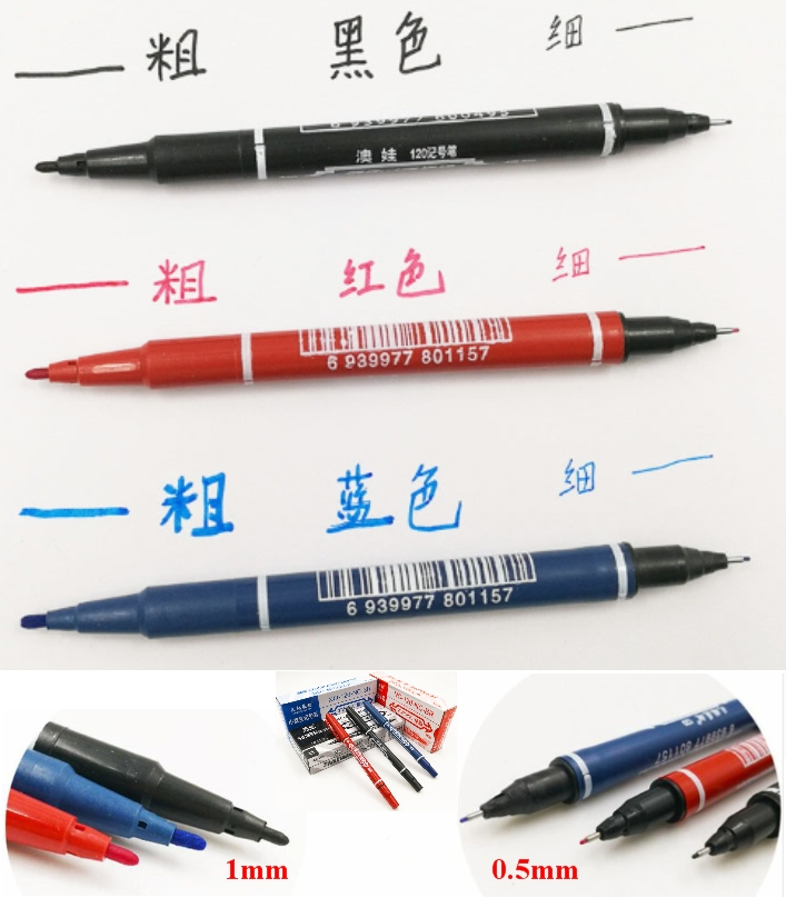 Pack of 3 Double headed marker red black blue set