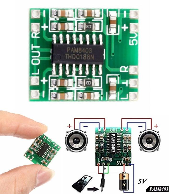 PAM8403 2X3W Mini Audio Class D amplifier board