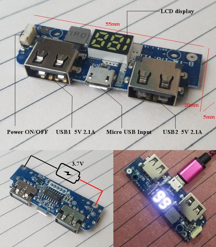 5V 2.1A Power bank digital LCD PCB 2 USB HQ