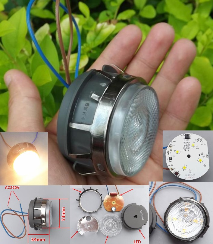 AC 220V 3W 2700k LED warm light built-in radiator