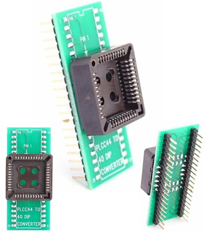 PLCC44 to DIP40 Programmer Socket Seat Adapter Mod