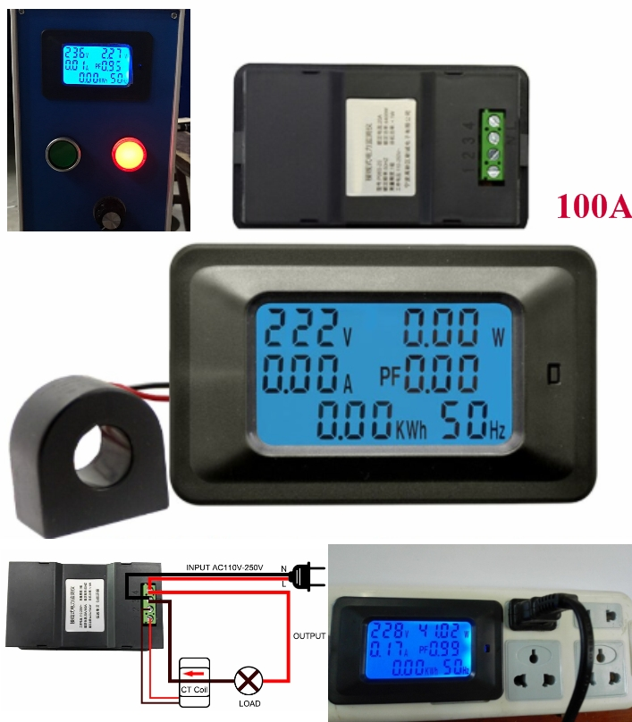 AC 22000W 250V 100A digital energy meter, voltage,