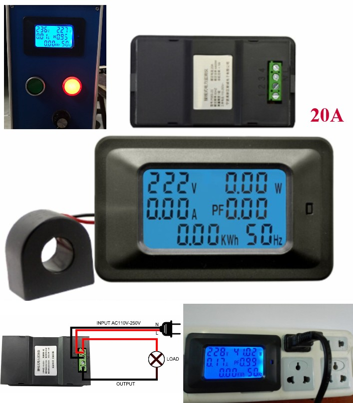 AC 4400W 250V 20A digital energy meter, voltage, c