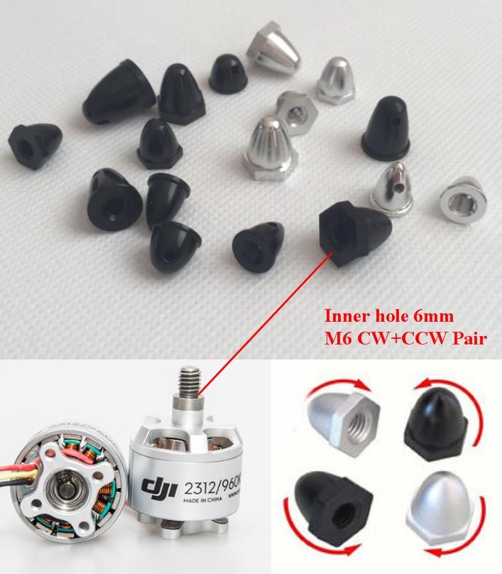 Pair CW+CCW M6 6mm Propeller Nut Cap adapter motor