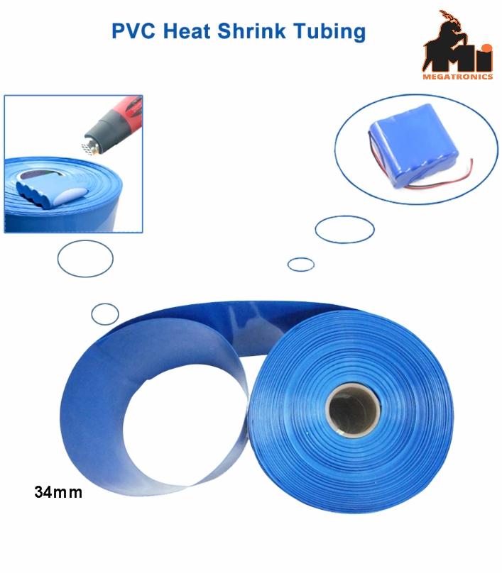34mm 1Meter PVC heat shrinkable tube 18650  heat shrink wrapping blue