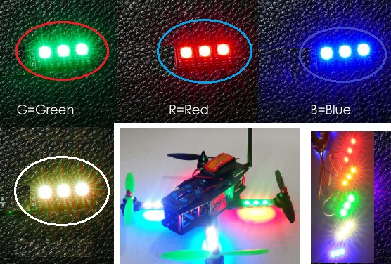 Blue LED light board for multi axis aircraft