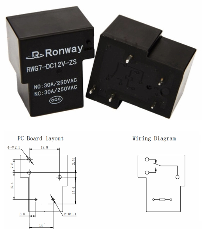T-90 Relay 220AC 30A RWG7-DC12V-HS 12V Coil