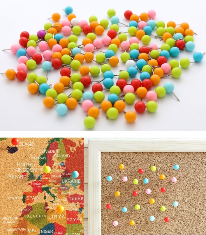 Round Ball head Push Cork Pin for Travel map  boar