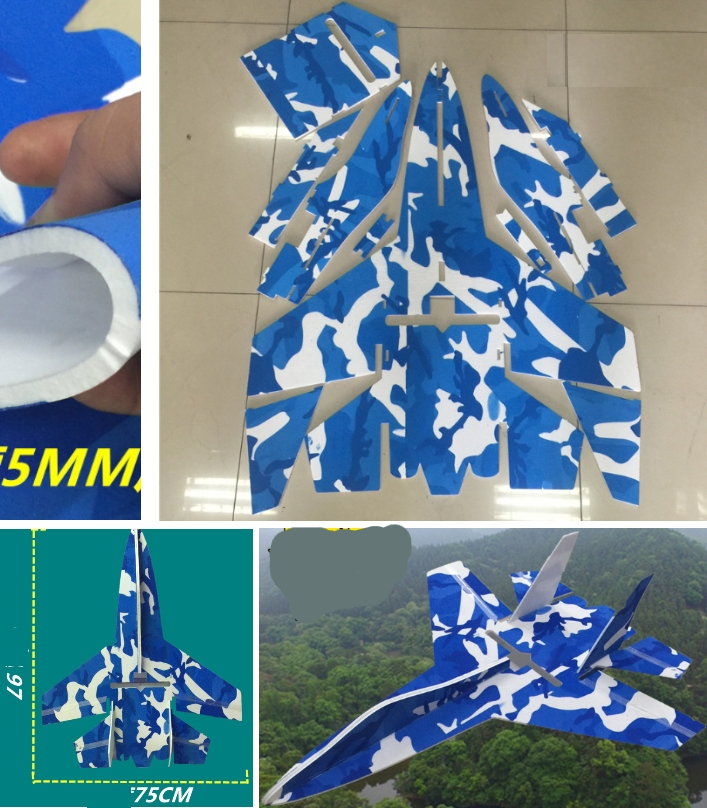 Su-27 RC Airplane MPP Aircraft DIY printed laser c