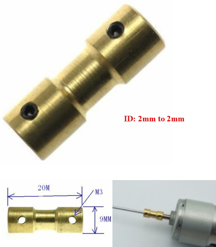 Steel shaft coupling hole 2mm to 2mm rod coupler