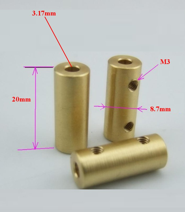 copper coupling 3.17 to 3.17 coupler shaft rod