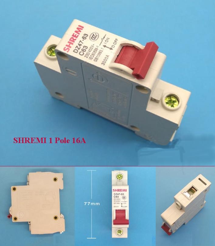 Miniature Circuit breaker SHREMI DZ47-63 1P 16A