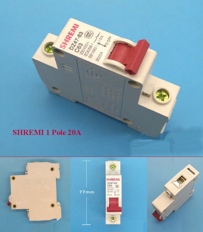 Miniature Circuit breaker SHREMI DZ47-63 1P 20A