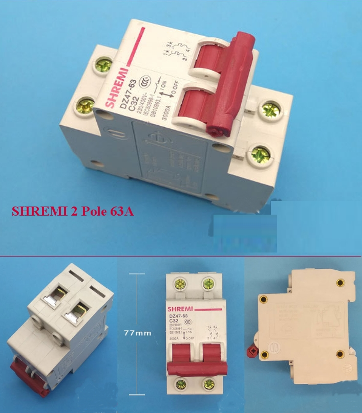 Miniature Circuit breaker SHREMI DZ47-63 2P 63A
