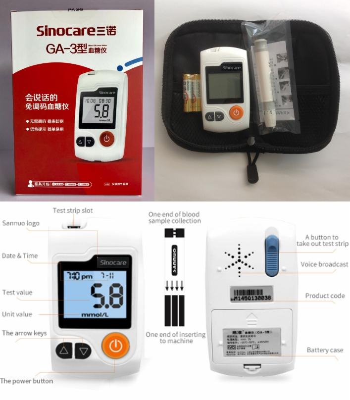 Sinocare GA-3 blood glucose sugar meter glucometer