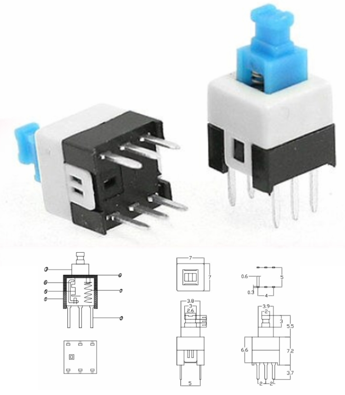 7x7mm self-locking Key switch button switch 6pin