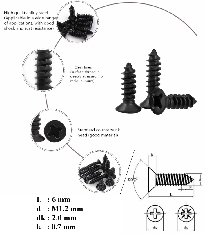 KA1.2*6 Black Screw Countersunk Head Self-tapping