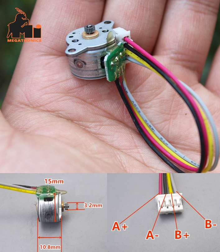micro stepper motor two-phase four-wire 15mm stepp