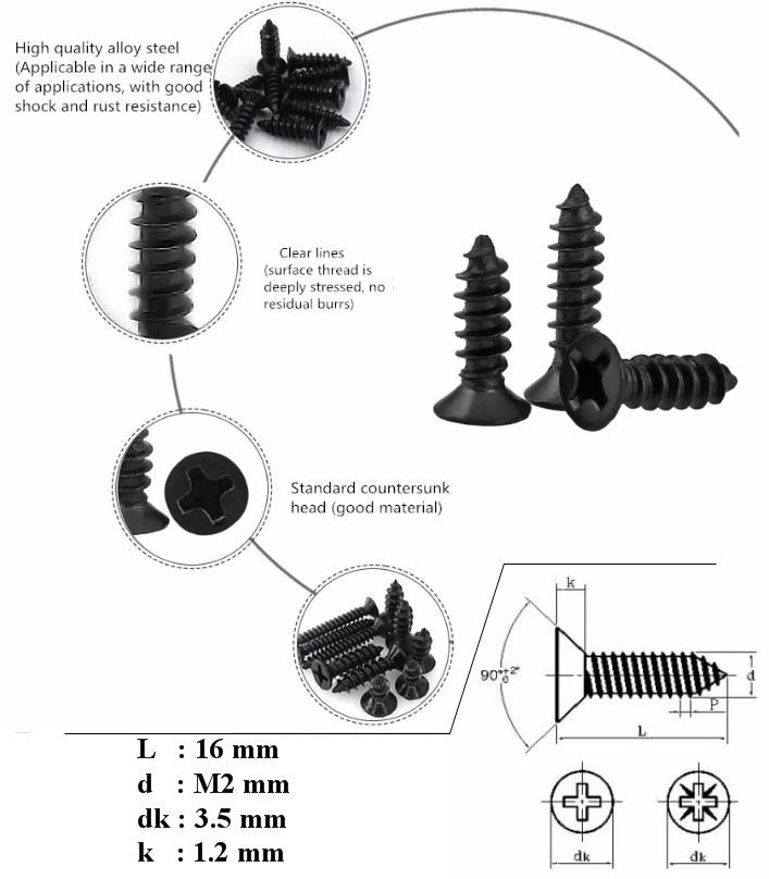 KA2*16 Black Screw Countersunk Head Self-tapping