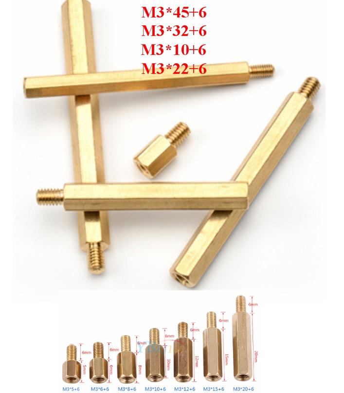 Standoff 32+6mm Brass M3 Hex  Spacer Pillar Male-F