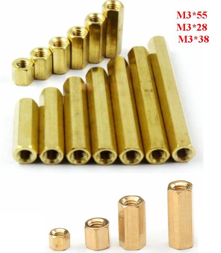 Standoff 38mm Brass M3 Hex  Spacer Pillar Female-F