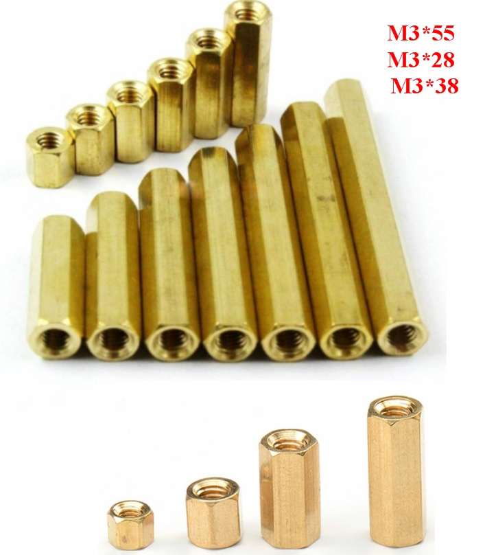 Standoff 55mm Brass M3 Hex  Spacer Pillar Female-F