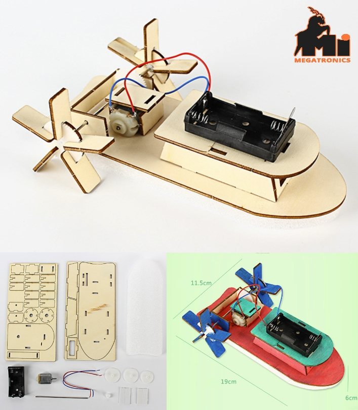 DIY STEM Boat Technology Science Experiment kit for Kids Electronic Wooden Educa