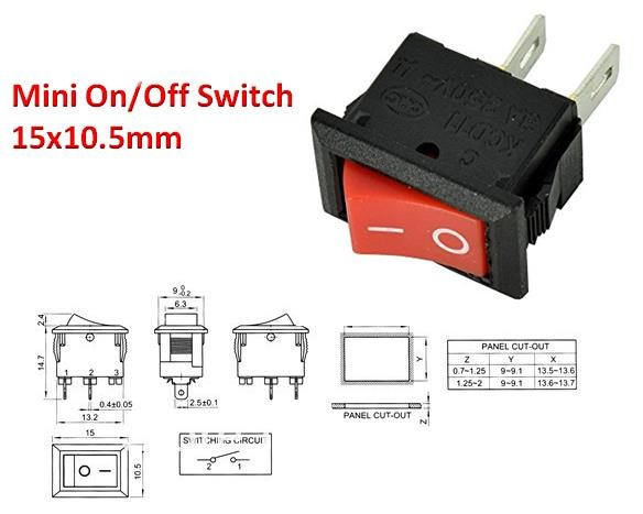 KCD1 Power ON/OFF Switch Black Red Latching Button