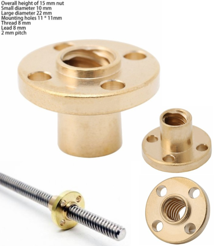 T8 Brass Screw Nut 8mm 2mm Pitch For Lead Screw 3D