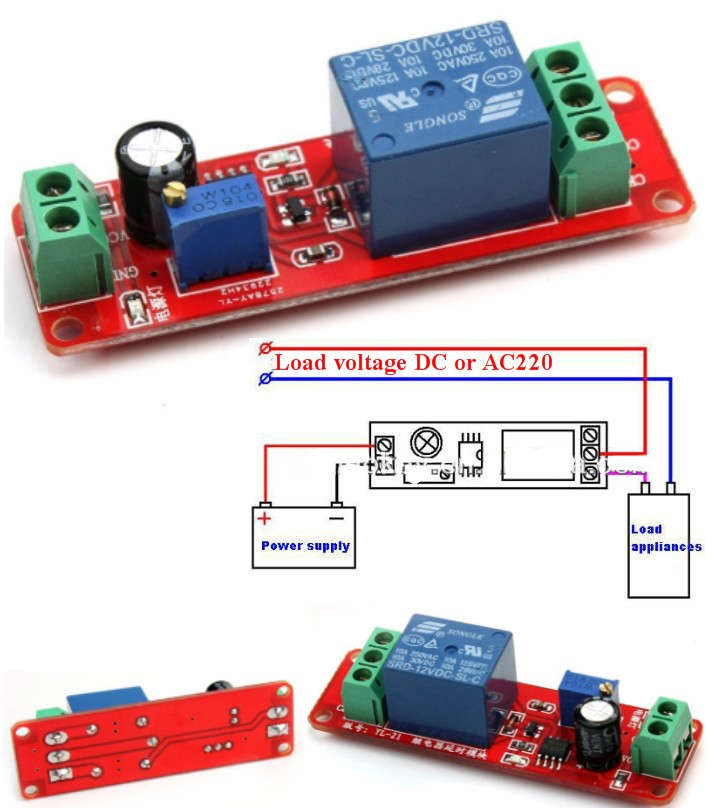 NE555 Time Delay Monostable Switch Module Board