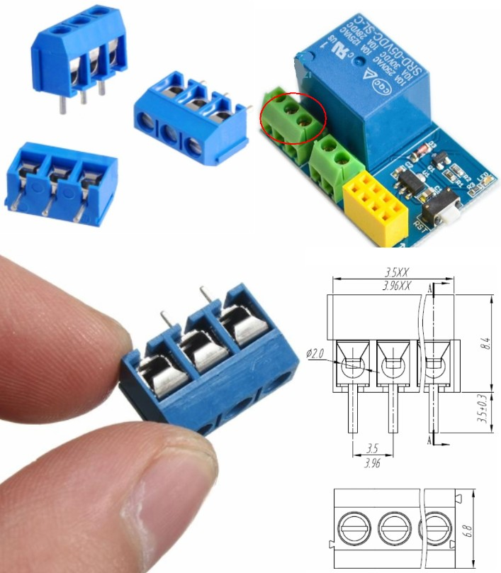 3pins 5.08mm Blue Terminal block connector