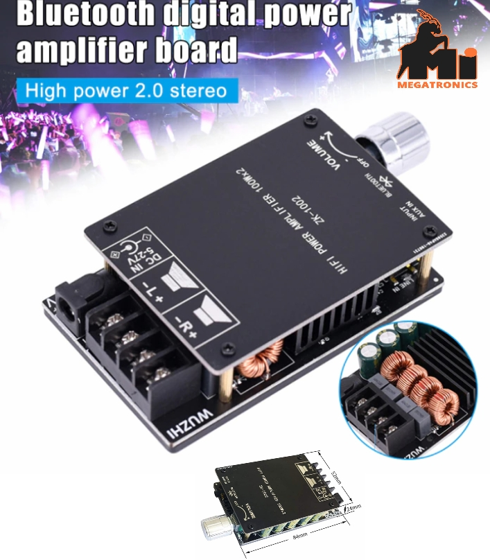 100WX2 HiFi TPA3116 Bluetooth 5.0 audio Amplifier