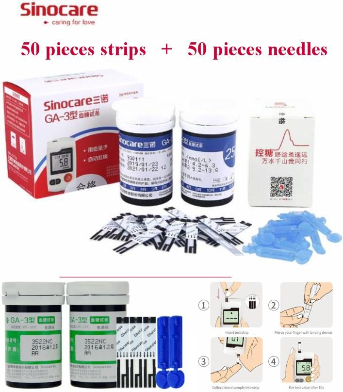 GA-3 Blood Glucose sugar Meter 50 Strips+needles