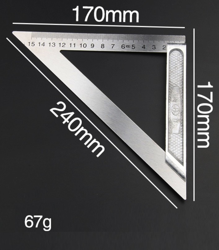 200mm Triangle Ruler Stainless 90 Degree
