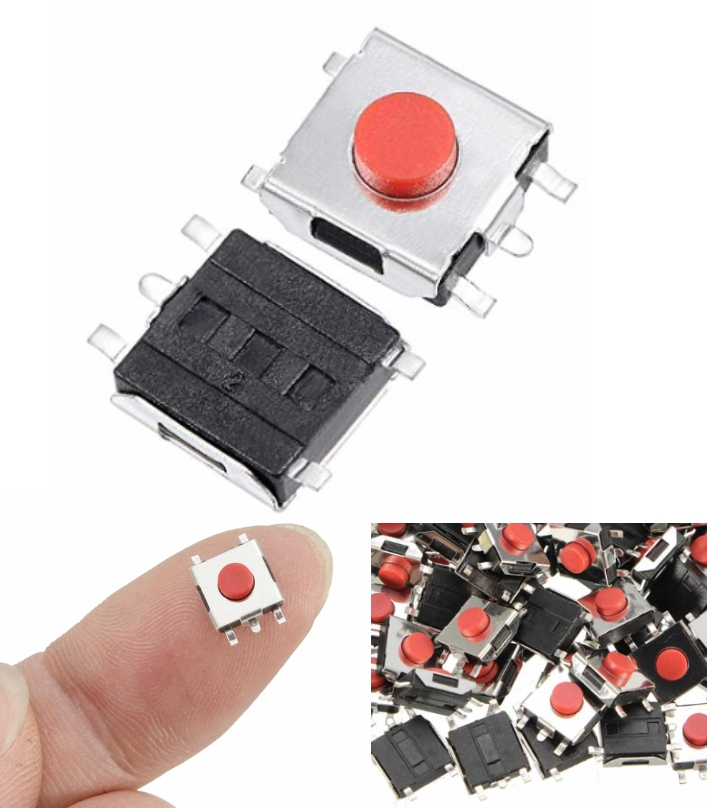 6x6x3.1mm 4Pin Red Tactile Switch SMD push button