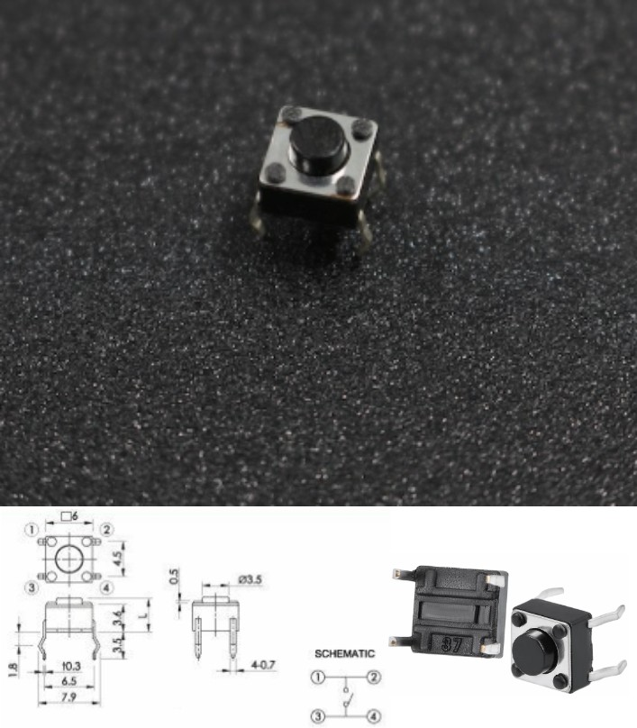 6x6x4.5mm 4Pin Tactile Switch push button momentar